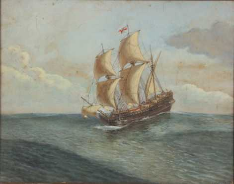Henry Alexander Ogden, watercolor, gouache on paper of a sailing galley