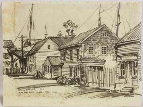 Everet Hoch,  pencil drawing of a fishing village