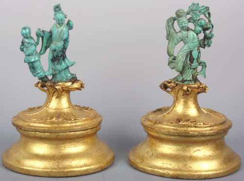 Two Chinese Carved Turquoise Figurines