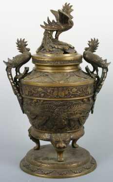 Large Chinese Cast Bronze Lidded Censor
