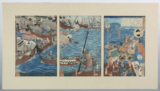 Japanese Triptych of Samurai warriors