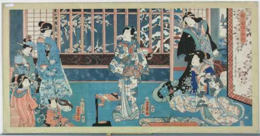 """Japanese Triptych """"The Music Lesson"""", probably by Utagawa Yoshiiku"""