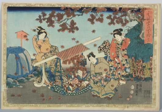 Japanese Block Print probably by Magawa Toyokuni