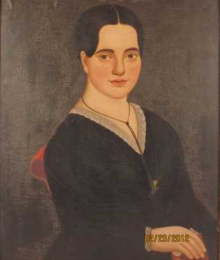 William Mathew Prior attributed, oil on canvas painting of Malvina Harriman, (1827-1849) of Dover, NH