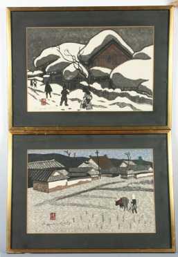 Pair of 20th Century Japanese Block Prints signed Kiyoshi Saito