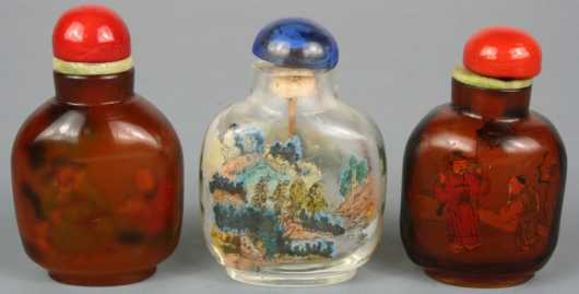 Three Reverse Painted Glass Snuff Bottles