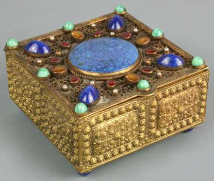 Antique Asian Filigree Jeweled Box