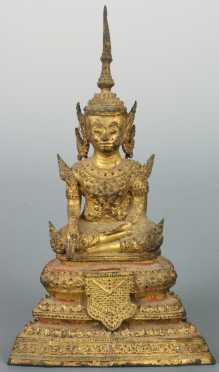 Thai Gilded Bronze Buddha in royal dress