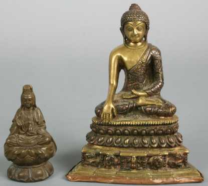 Two Bronze Statues of Buddha