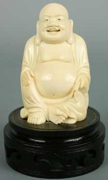 Chinese Ivory Carving of a Laughing Buddha