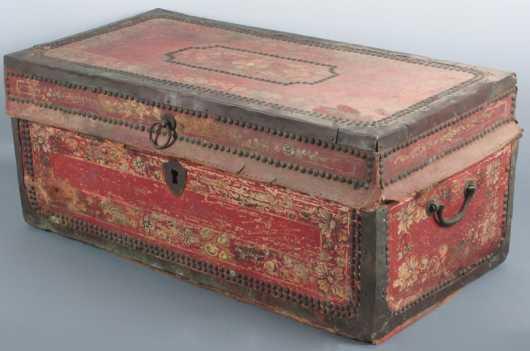 Red Leather Covered Camphorwood Box