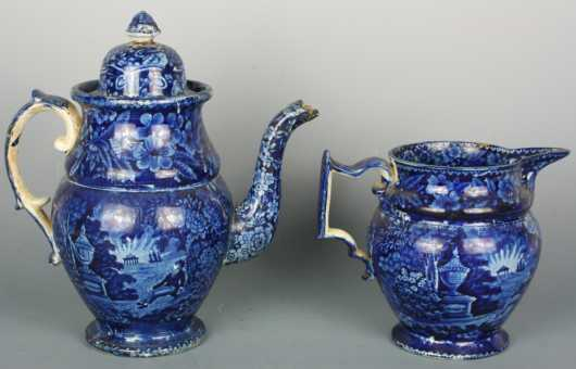 Two Historical Blue Staffordshire Pieces