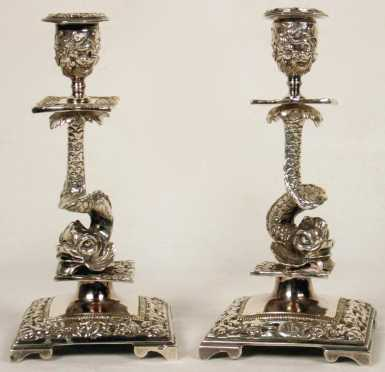 Pair of Silver Plated Dolphin Form Candlesticks