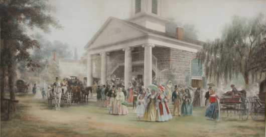 """1872 Colored Print """"Old Dutch Church"""" after a painting by EL Henry"""