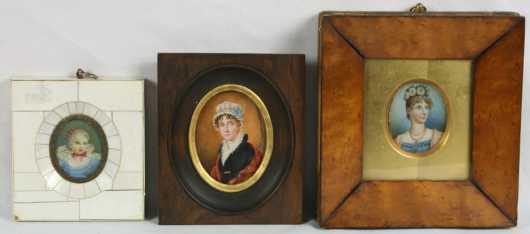 Three Miniature Oil on Ivory Portraits