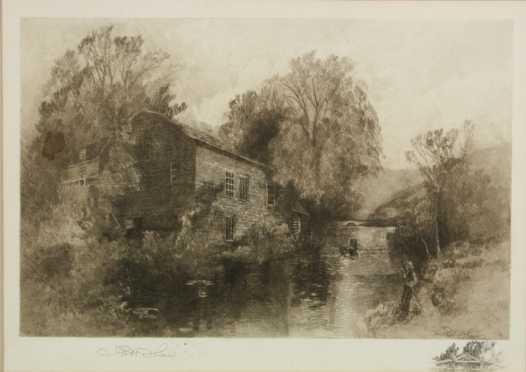"Robert Shaw, ""Sleepy Hollow Mill, Tarrytown, NY,"" etching"