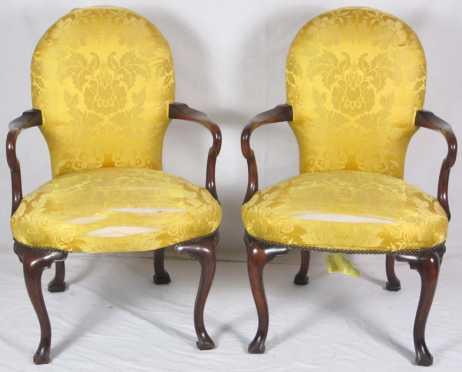 Pair of Queen Ann Style Arm Chairs