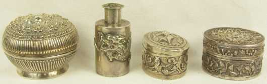 Lot of Four Oriental Silver Snuffs and Shakers