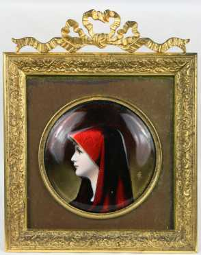 Enameled Copper Portrait Plate of St. Fabiola