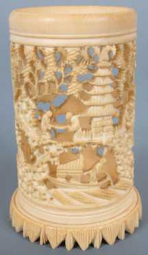 Chinese Ivory Carved Brush Pot