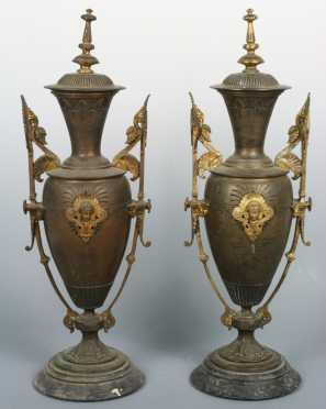 Pair of Bronze and Gilded Mantle Garnitures