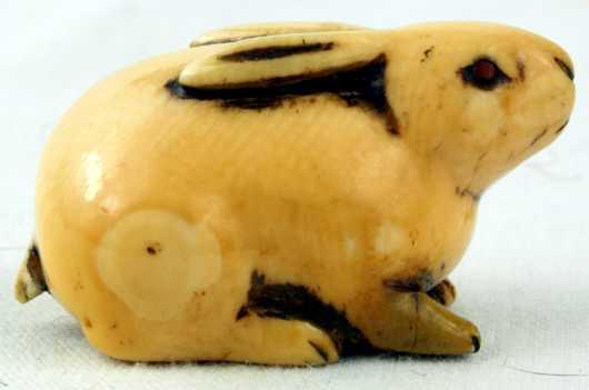 Ivory Katabori Netsuke of a Reclining Rabbit