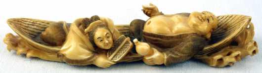 Ivory Carved Katabori Netsuke of Hotei and Benzaitan