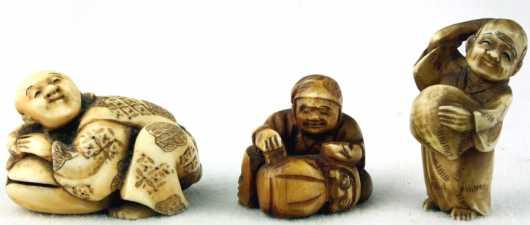 Three Ivory Katabori Netsuke's