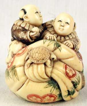 Ivory Katabori Netsuke of Two Twin Boys