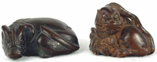 Two Wooden Katabori Netsuke