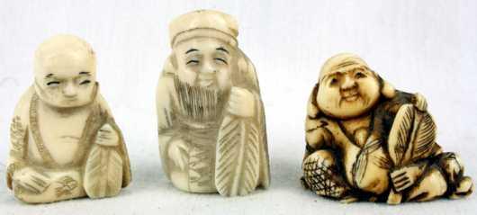 Three Ivory Katabori Netsuke of Hotei
