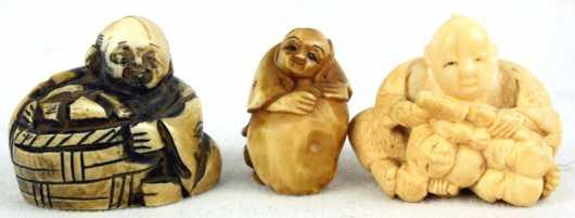 Three Ivory Katabori Netsuke