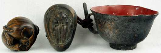 Two Wooden Katabori Netsuke and a Cup