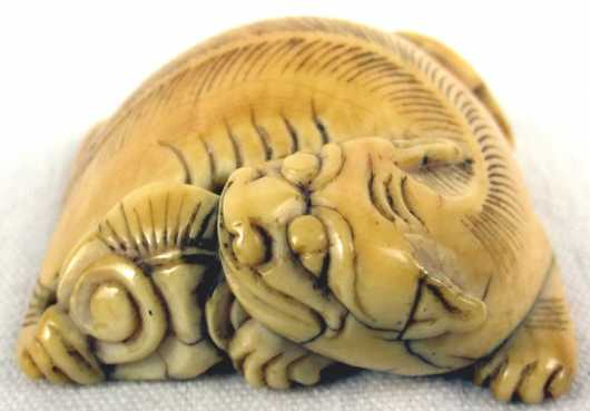 Ivory Katabori Netsuke  of a crouching tiger
