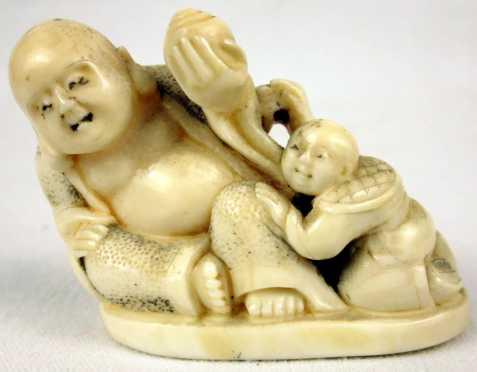 Ivory Katabori Netsuke of Hotei and Child