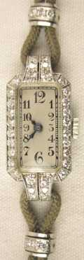 Ladies Wrist Watch, platinum and diamond