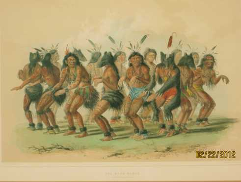 """George Catlin, The Bear Dance,"""" plate #18 from his North American Indian Collection"""