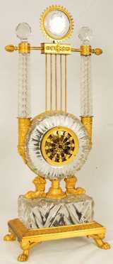 French Brass and Crystal Mantle Clock