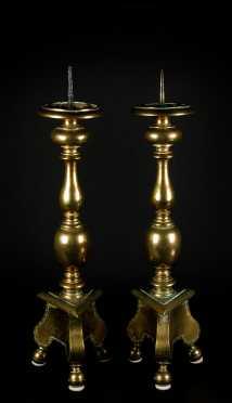 Pair of 18thC Continental Brass Pricket Candlesticks