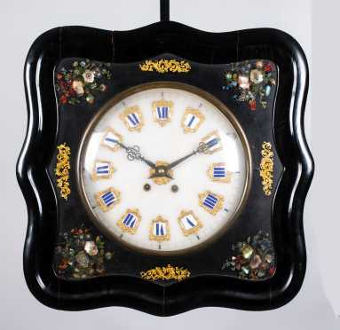 Swedish 19thC Mother of Pearl Inlaid Wall Clock