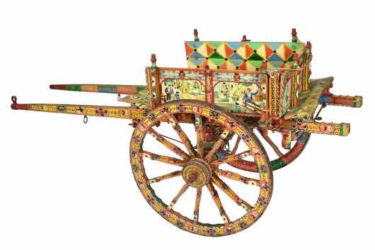 Important Italian Paint Decorated Donkey Cart by Domenico di Mauro