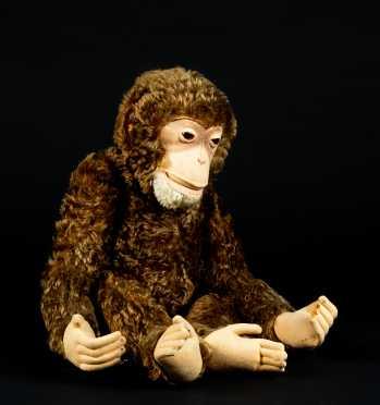 """Vintage Brown Mohair Attributed Steiff Jointed Monkey """"Jocko 24"""""""