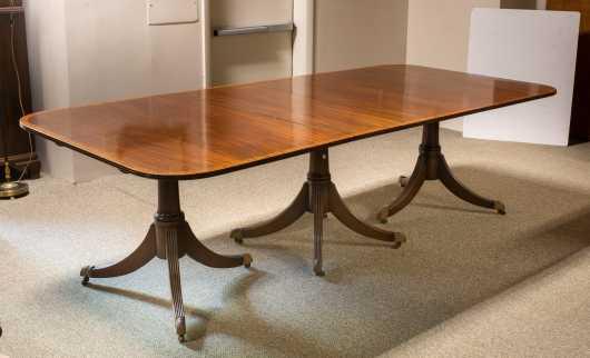20thC English Mahogany Regency Style Three Pedestal Banquet Table