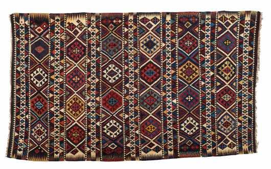 E20thC Persian Kalim Small Room Size Oriental Rug