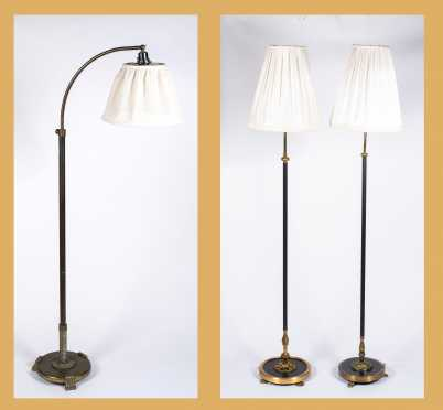 Lot of Three Standing 20thC French Style Electric Lamps