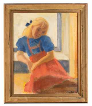 20thC Swedish Painting of a Young Girl Seated Indoors