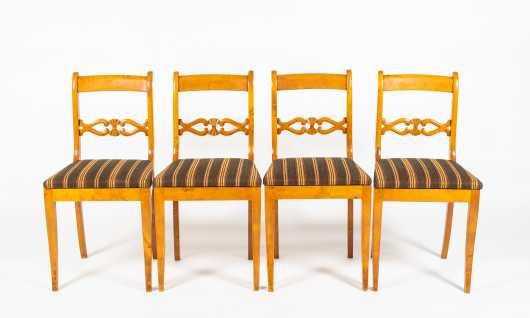 Set of Four Swedish Biedermeier Style Maple Side Chairs