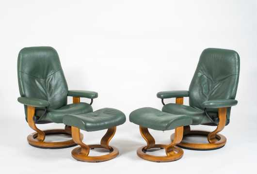"""Pair of """"Ekornes"""" Lounge Chairs with Ottomans"""
