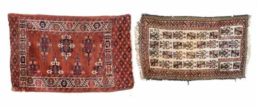 Two Antique Oriental Scatter Rugs