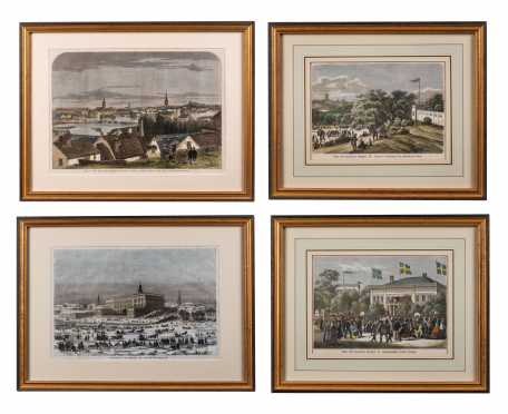Four 19th/20thC Stockholm Hand Colored Prints